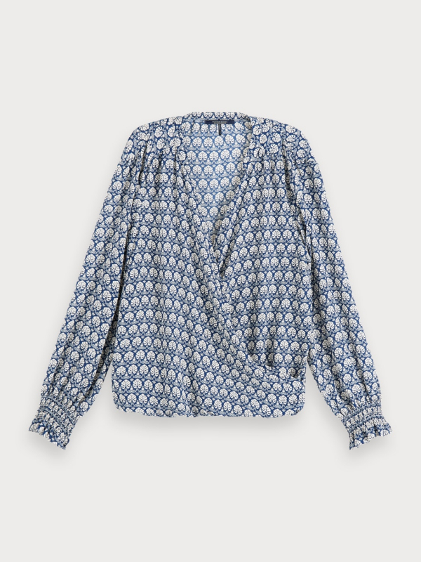 "Maison & Scotch Damen Bluse - ""Wrap-over Top with smocked cuf"""