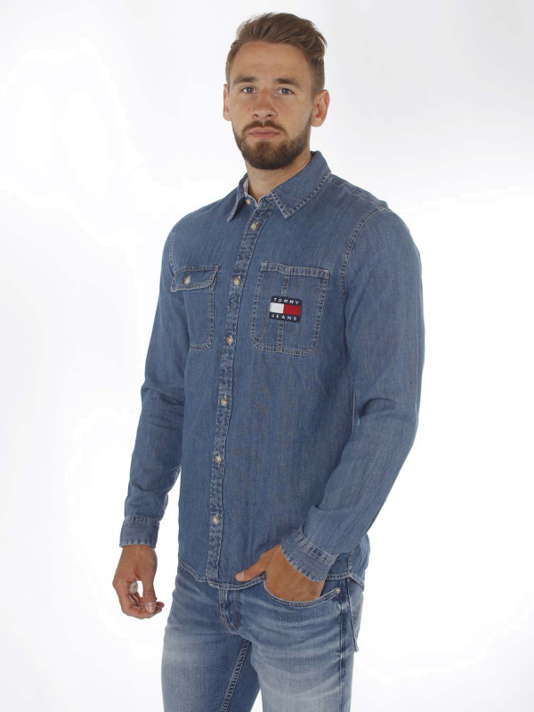 "TOMMY HILFIGER Herren Jeanshemd - ""DENIM BADGE Shirt mid indigo"""