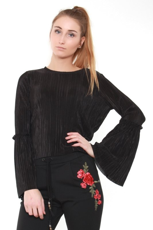 "NA-KD Damen Oberteil - ""Pleated Frill Sleeve Top blk"""