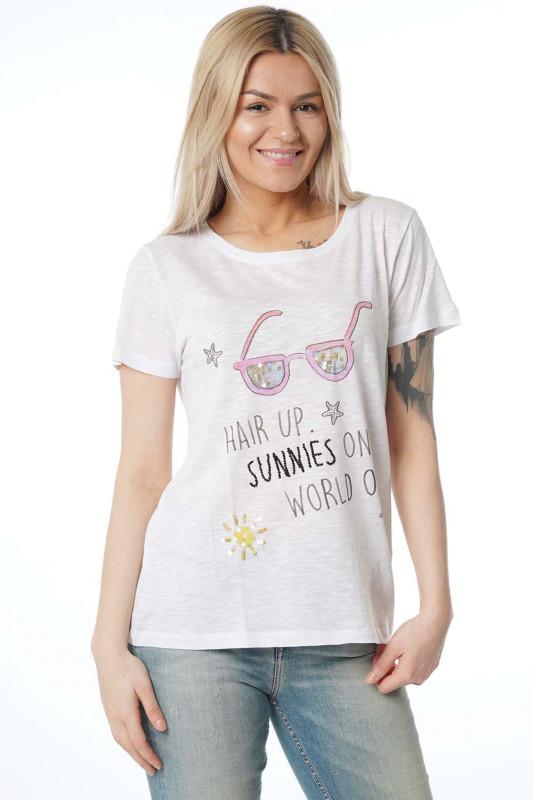 """Grace Damen T-Shirt - """"Sunnies shirt white"""""""
