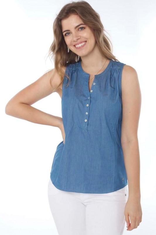 "Strange Damen Bluse - ""Jolina medium blue"""