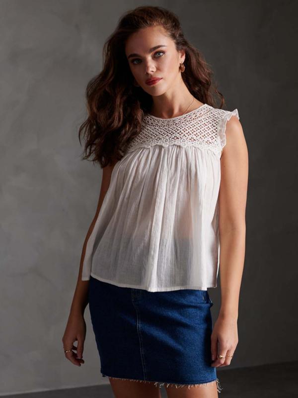 """SUPERDRY Damen Bluse - """"Ellison Textured Lace Vest"""""""