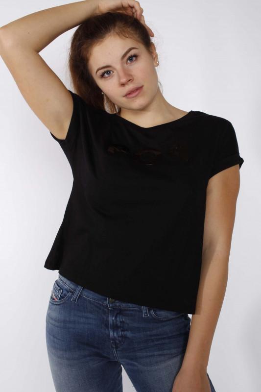 """GUESS Damen T-Shirt - """"SS CN Queenie Tee jet black"""""""