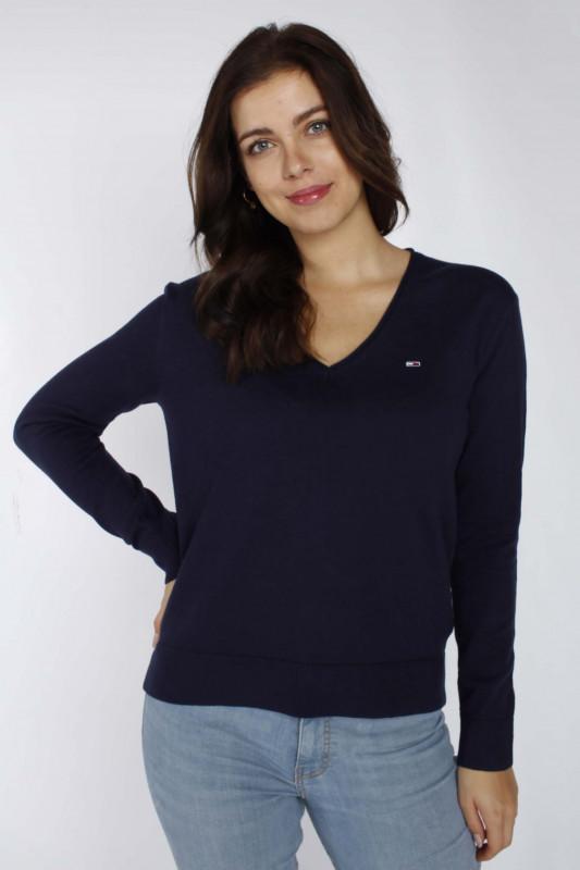 "TOMMY HILFIGER Damen Pullover - ""Soft touch v-neck sweater twilight navy"""