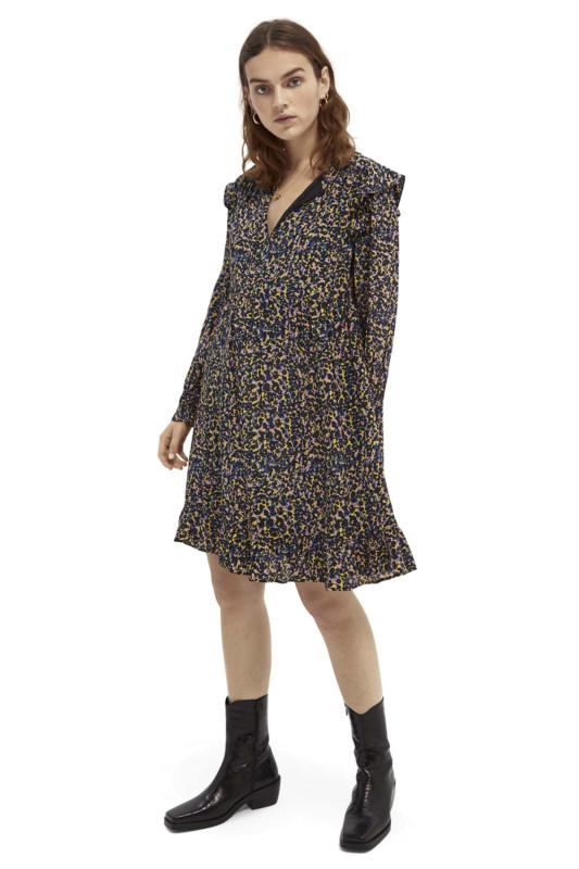 """SCOTCH & SODA Damen Kleid - """"Printed drapey Dress with gath"""""""