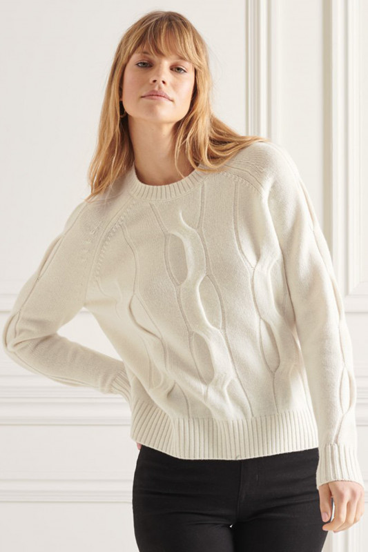 """Superdry Damen Pullover - """"STUDIOS CABLE KNIT JUMPER OFF WHITE"""""""