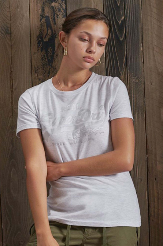 "Superdry Damen T-Shirt - ""Vintage Logo Tonal Satin T-Shirt ice marl"""