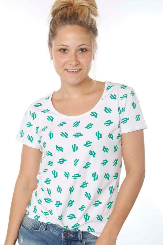 """STRANGE Damen T-Shirt - """"JULIANE white & cactus"""""""