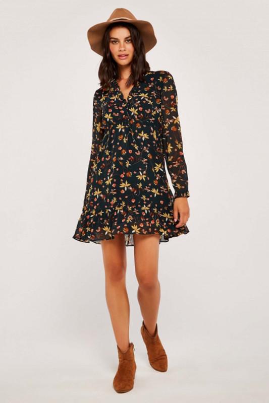 "APRICOT Damen Kleid - ""GREEN AUTUMN FLORAL V NECK CHIFFON DRESS"""