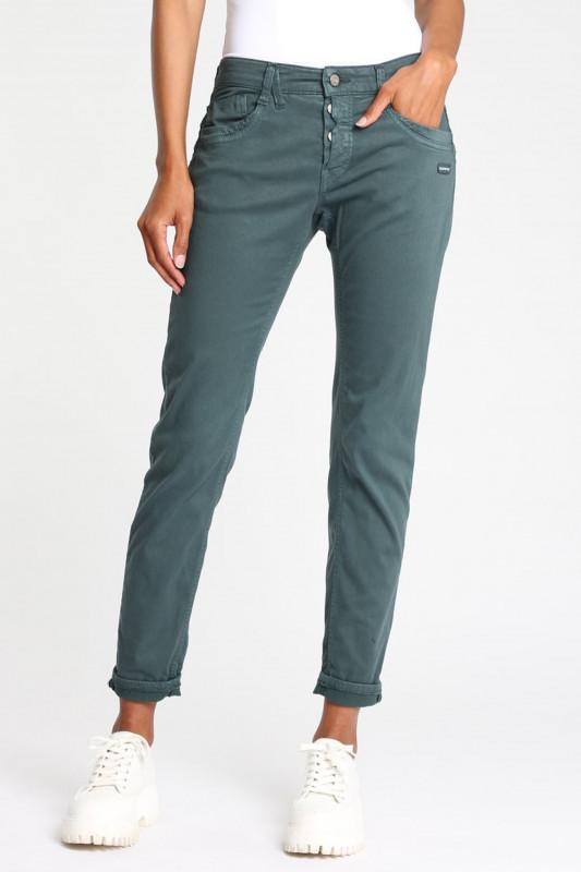 "Gang Damen Jeans - ""Gerda peach power dark green"""