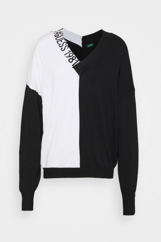 """GUESS Damen Pullover - """"DALIA V-NECK SWEATER BLACK & WHITE"""""""