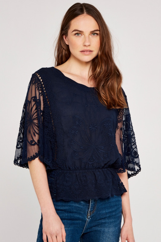 """APRICOT Damen T-Shirt - """"Embroidered navy"""""""