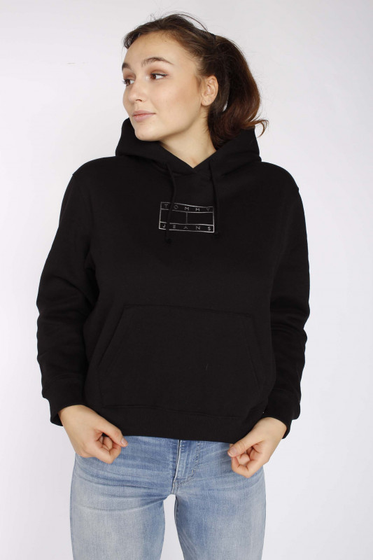 "TOMMY HILFIGER Damen Sweatshirt - ""Outline Flag Hoodie black"""