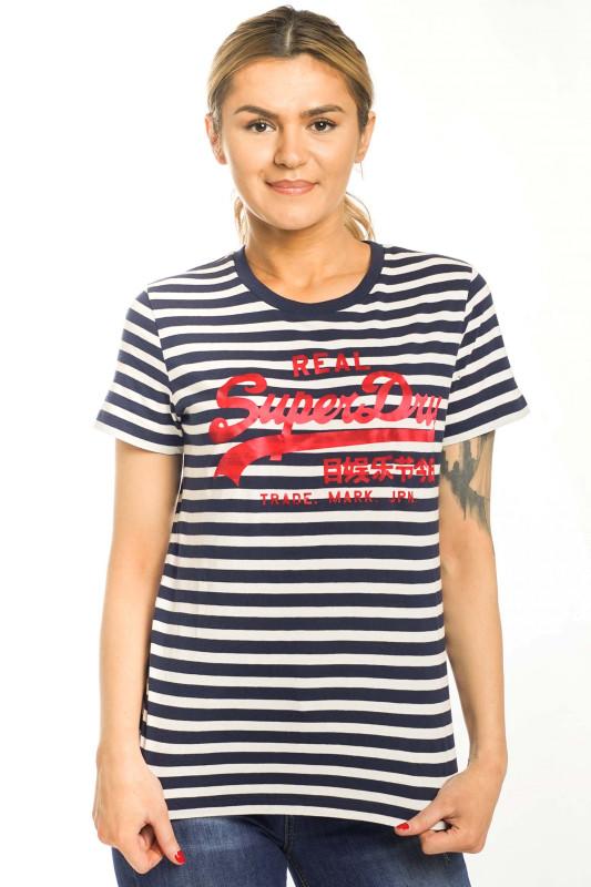 "SUPERDRY Damen T-Shirt - ""VL SATIN STRIPE ETRY TEE"""