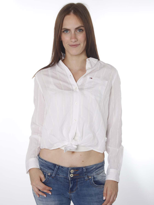"TOMMY HILFIGER Damen Bluse - ""Front Knot Shirt white"""