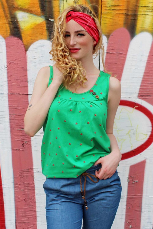 "STRANGE Damen Top - ""ADRIANA green / melons"""