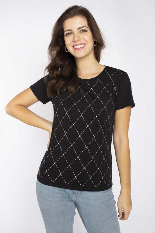 """LIU JO Damen T-Shirt - """"T-shirt moda m/c nero/nikel"""""""