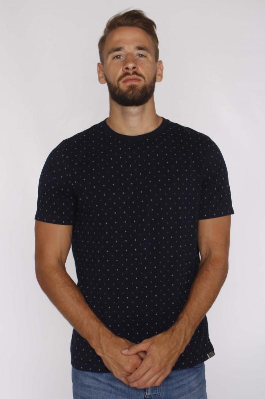 "SCOTCH & SODA Herren T-Shirt - ""Classic jersey crew w mini print blue"""