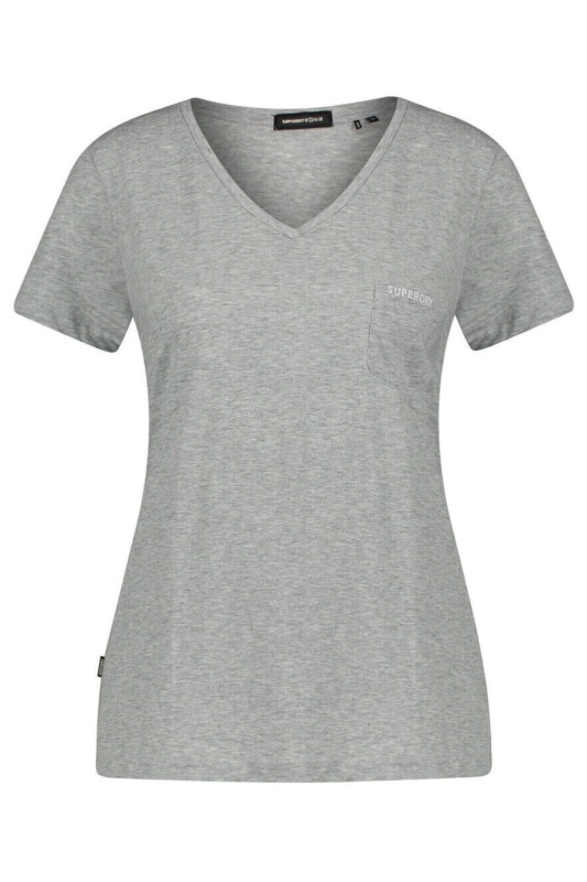 """SUPERDRY Damen T-Shirt - """"Studios Pocket V Neck Tee mid marl"""""""