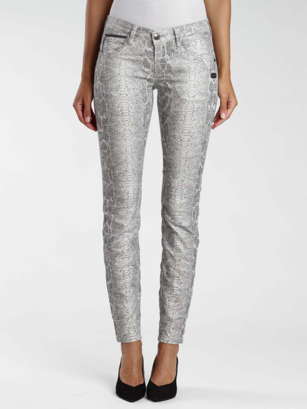 "Gang Damen Jeans - ""Nikita snake printed grey prin"""