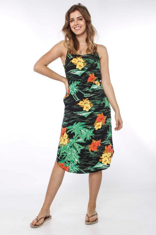 "Strange Damen Kleid - ""Maida black / tropical flowers"""