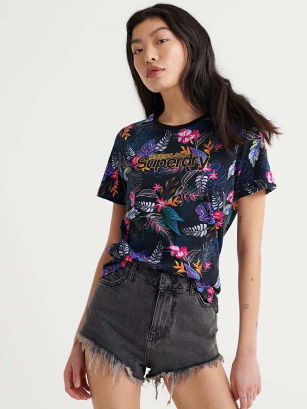 "Superdry Damen T-Shirt - ""SL TROPICAL AOP ENTRY TEE BLAC"""