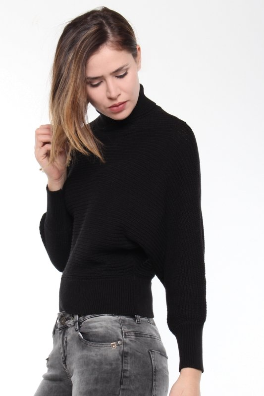"NA-KD Damen Pullover - ""Folded Knitted Sweater Black"""