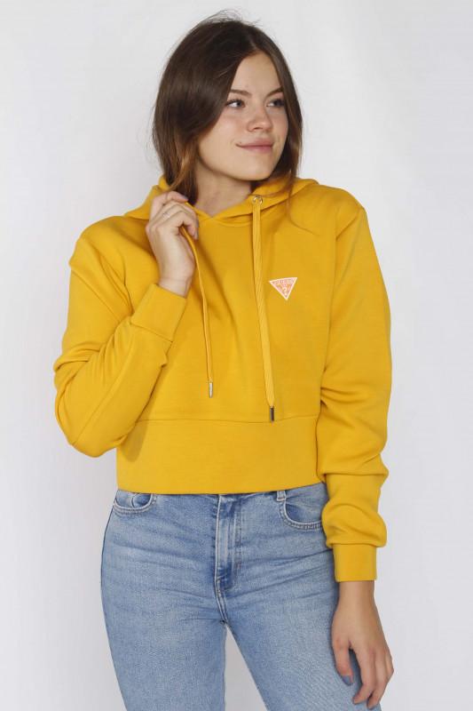 """GUESS Damen Sweatshirt - """"Hoody Mini Triangle Fleece yellow"""""""