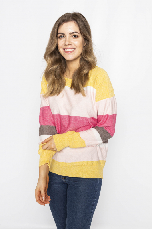 "FREEQUENT Damen Pullover - ""CLAUTY round stripe offwhite mix"""