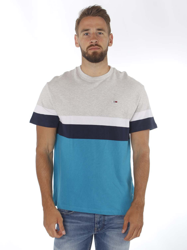 "TOMMY HILFIGER Herren T-Shirt - ""Graphic Colorblock Tee pale grey/multi"""