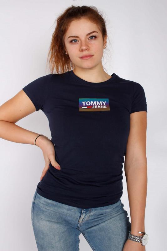 "TOMMY HILFIGER Damen T-Shirt - ""Gradient logo Tee twilight navy"""