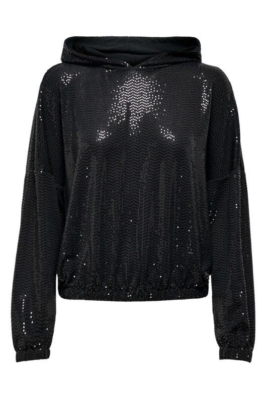 "ONLY Damen Pullover - ""Moon L/S glitter hood black mi"""