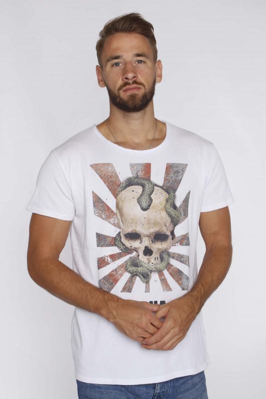 """Tigha herren T-Shirt """" Snake Skull Wren White"""""""
