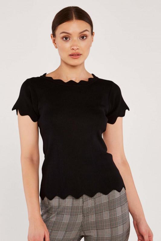 "APRICOT Damen T-Shirt - ""BLACK ZIGZAG HEM TOP"""