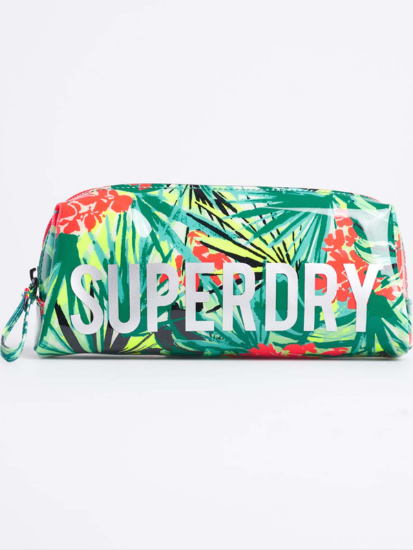 "Superdry Damen Federmäppchen - ""JELLY PENCIL CASE GREEN TROPIC"""