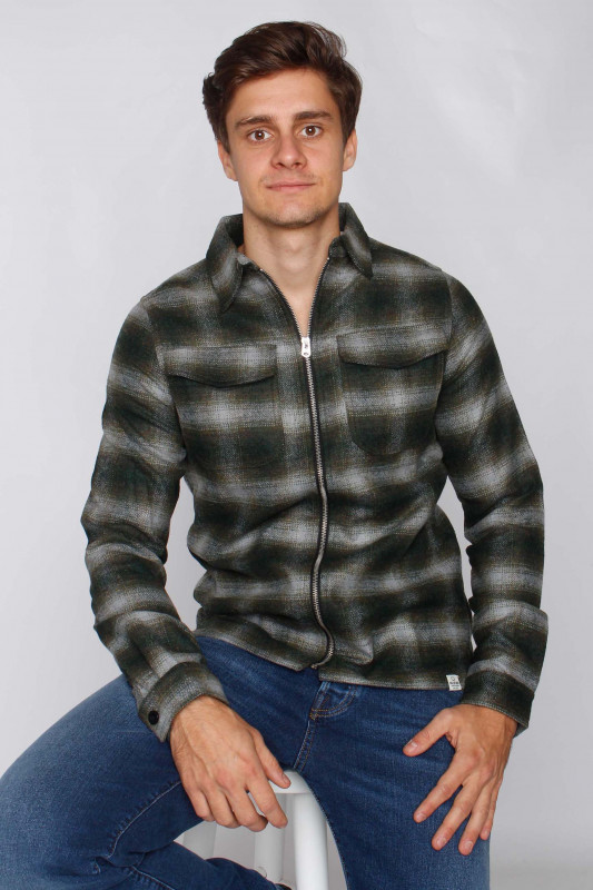 "CIRCLE OF TRUST Herren Hemd - ""Jonah Zip military green check"""
