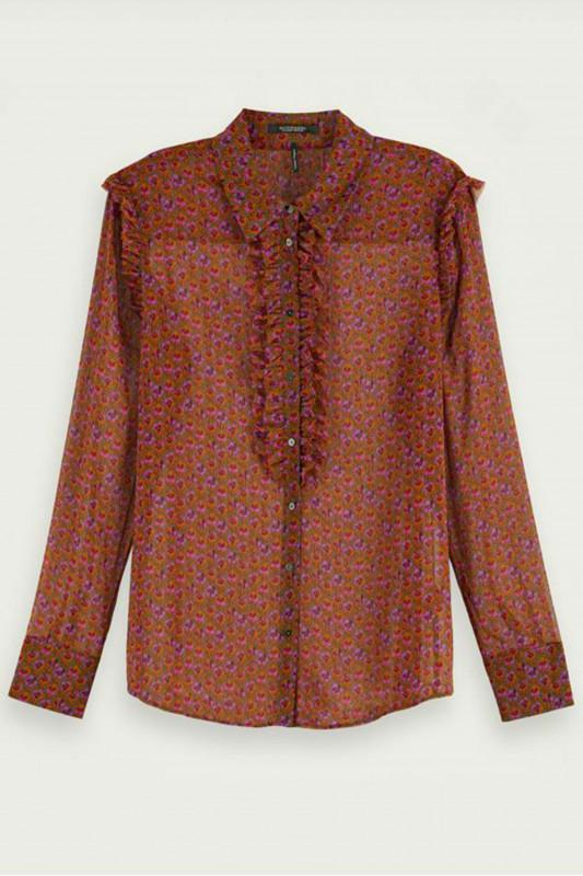 """SCOTCH & SODA Damen Bluse - """"Button up shirt w ruffles in p"""""""