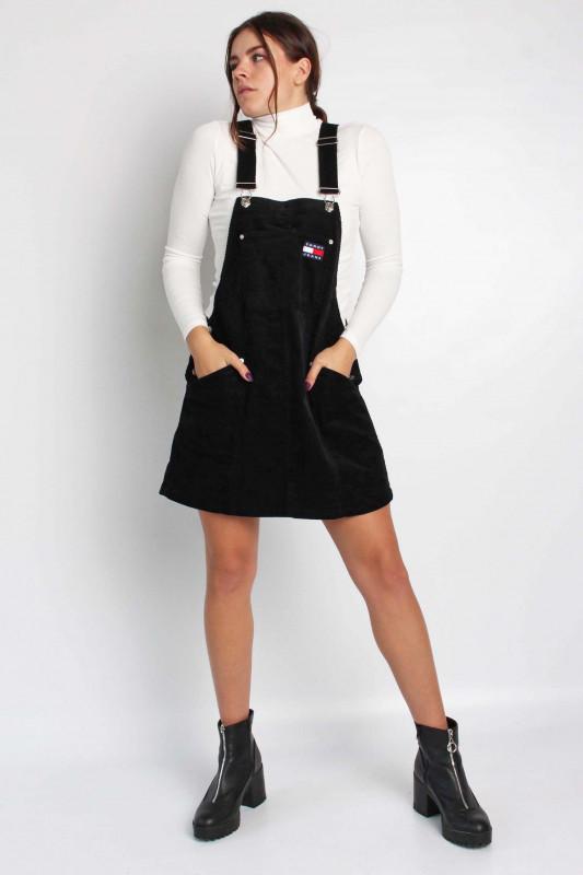 """TOMMY HILFIGER Damen Rock - """"TJW CORD DUNGAREE DRESS BLACK"""""""