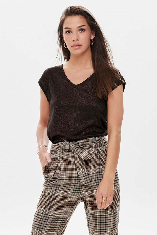 "ONLY Damen T-Shirt - ""Silvery S/S Top black"""