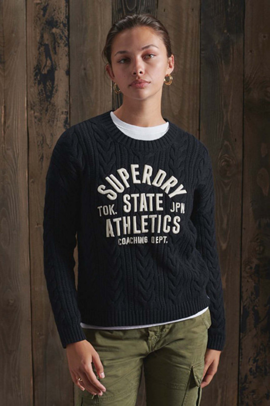 """Superdry Damen Pullover - """"COLLEGE CABLE CREWNAVY/OFF WHITE"""""""