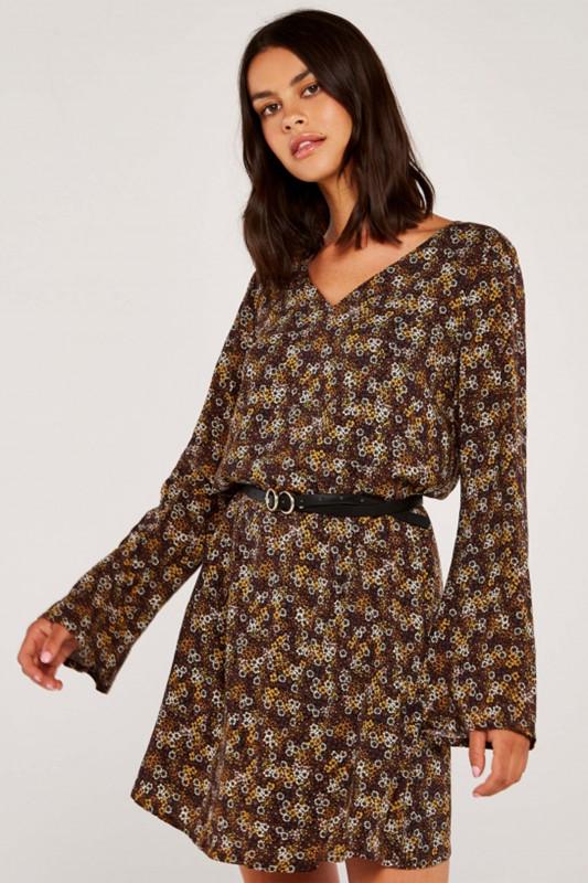 "APRICOT Damen Kleid - ""RUST VINTAGE DITSY BELL SLEEVE DRESS"""