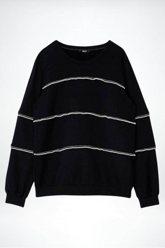 "Liu Jo Damen Sweatshirt - ""Felpa Chiusa nero mit Perlen Applikationen"""