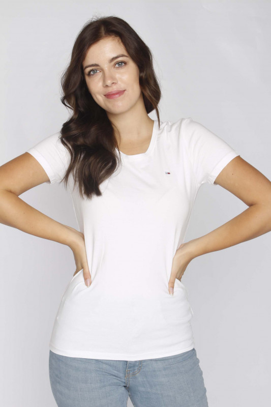 """TOMMY HILFIGER Damen T-Shirt - """"Stretch Crew Tee white"""""""
