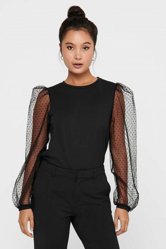 "ONLY Damen Shirt - ""Monna L/S Dot Top black"""