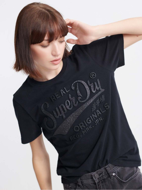 "Superdry Damen T-Shirt - ""RO GLITTER EMBOSS ENTRY TEE BL"""