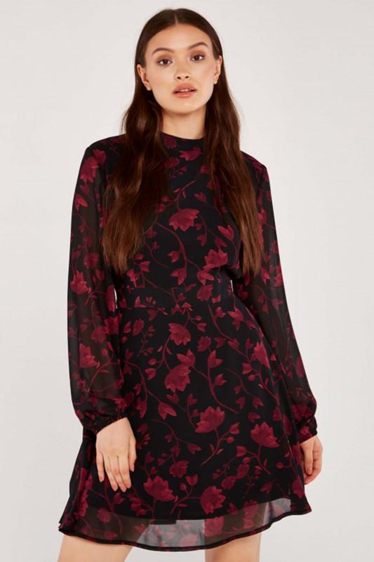 """APRICOT Damen Kleid - """"BLACK SILHOUETTE BRANCHES CHIFFON DRESS"""""""