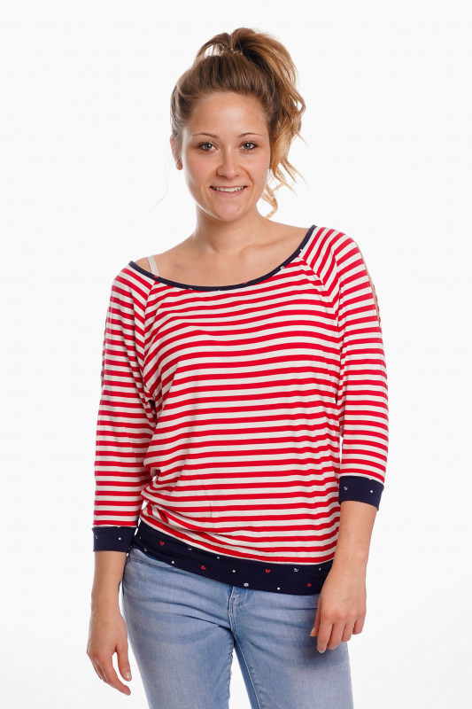 "STRANGE Damen Longsleeve - ""GABRIELE red-white / heart & anchor"""