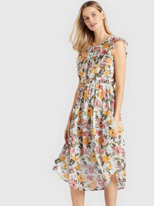 "KHJUO Damen Kleid - ""ANISA white romantic floral"""