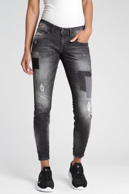 "GANG Damen Jeans - ""Faye Cropped Fit Skinny Jeans contrast patch black wash"""