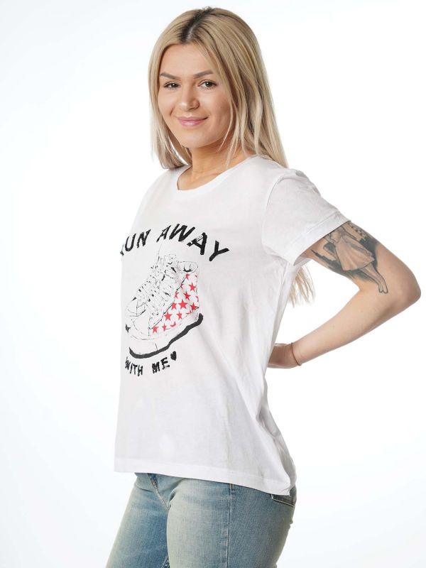 """Grace Damen T-Shirt - """"Run away shirt white"""""""